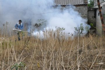 Phun hóa chất diệt côn trùng tại các trường học bị ngập úng
